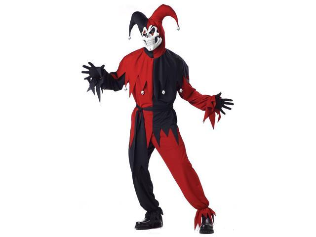 Evil Jester Joker Red and Black Men's Costume