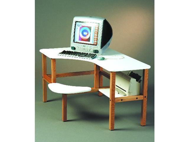 Laminated Top Grade School Computer Desk w Solid Wood Legs (White / Brown)
