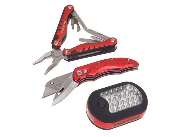 Tekton 1836 3-Pc. LED Light, Sport Utility Knife & Multi-Tool Set