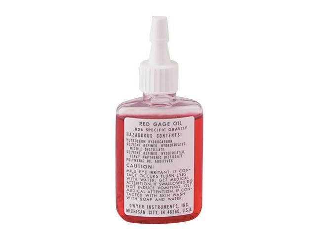 A-101 3/4 oz dispenser bottle of red gage oil, .826 sp. gr.
