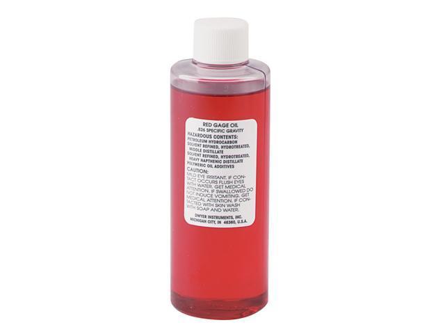 A-102 4 oz bottle of red gage oil, .826 sp. gr.