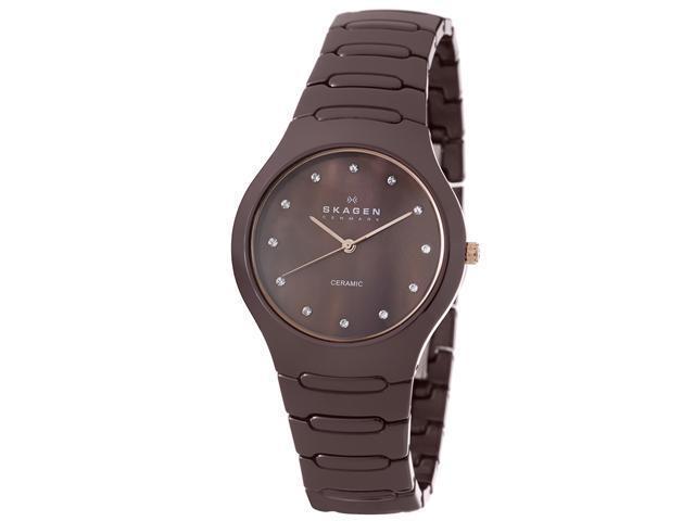 Skagen Ceramic Brown MOP Mother-of-pearl Dial Women's watch #817SDXCR