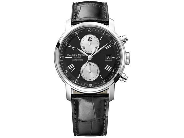 Baume & Mercier Classima Executives Mens XL Black Strap Chronograph Automatic Watch 8733