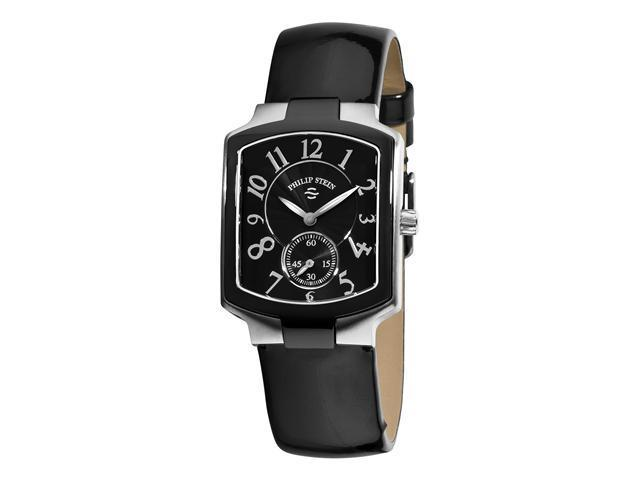 Philip Stein Classic Tank Ladies Black Leather Strap Watch 21TB-FB-LB