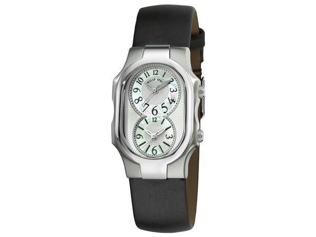 Philip Stein Signature Ladies Black Satin Strap Dual Time Watch