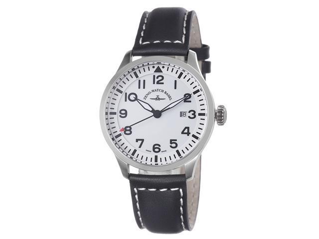 Zeno Mens Navigator White Dial Black Leather Strap Automatic Watch