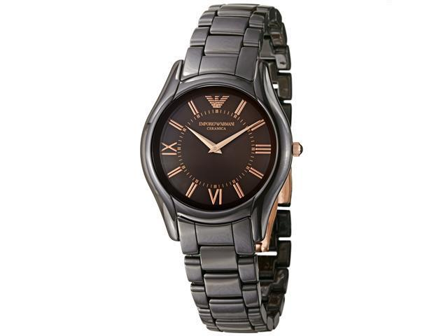 Emporio Armani Womens Ceramic Brown Dial Quartz Watch