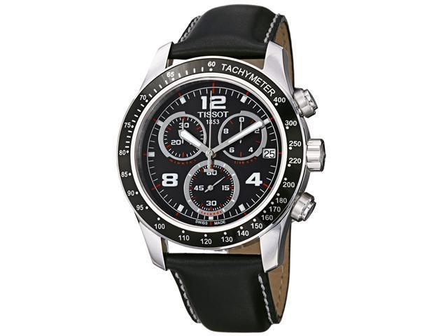 Tissot Mens V 8 Black Dial Black Leather Strap Chronograph Watch T0394171605702