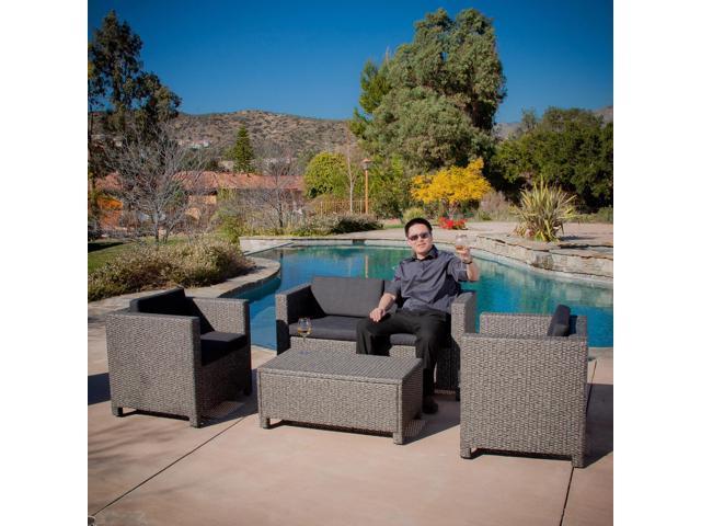 Christopher Knight Home 4Pcs Puerta Grey Outdoor Wicker Sofa Set