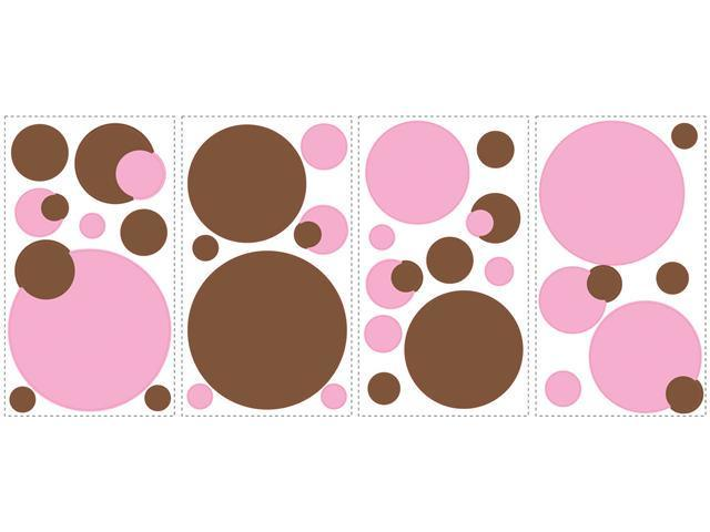 Just Dots Pink/Brown Peel & Stick Wall Decals