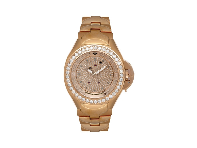 Aqua Master Men's Skeleton Diamond Watch with Diamond Bezel and Diamond Dial, 7.25 ctw