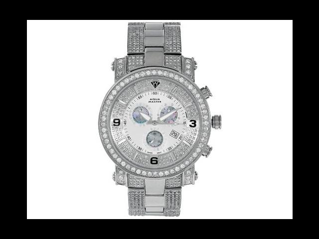 Aqua Master Men's Diamond Power Watch with One Row Diamond Bezel and 4-Link Outer Diamond Bracelet, 9.10 ctw
