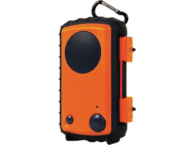 Grace Digital Orange Eco Extreme 3.5mm Aux Waterproof Portable Speaker Case for iPod, iPhone GDI-AQCSE100