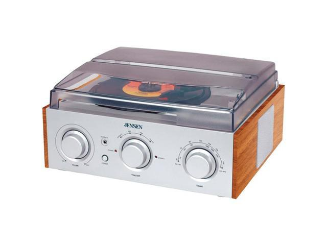 JENSEN  3-Speed Stereo Turntable with AM/FM Stereo Radio - JTA-220 (Silver)