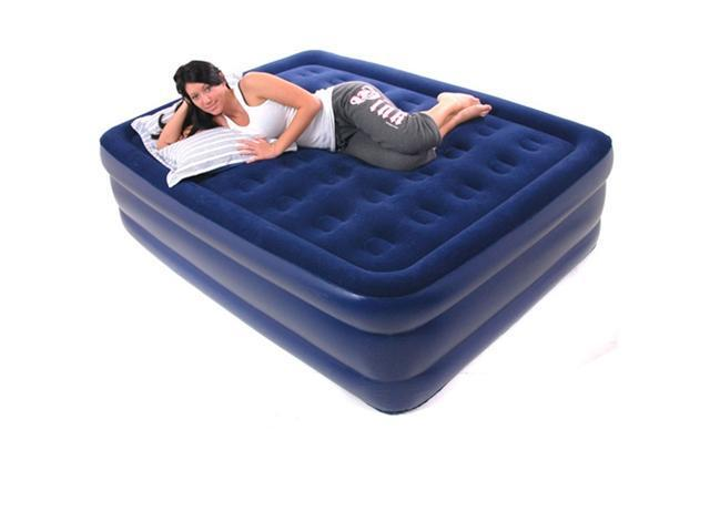 Smart Air Beds Raised Comfort Top Flocked Queen Size Inflatable Mattress w/AC Pump, Bag & Patch Kit (BD-1224)
