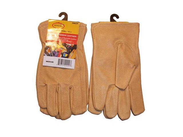 G & F Grain Pigskin Leather Work Gloves, 3 Pair Pack Large.