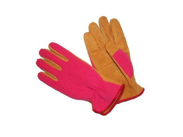 G & F Women's Washable Suede Pigskin Leather Garden Gloves, 3 Pair Pack Pink.