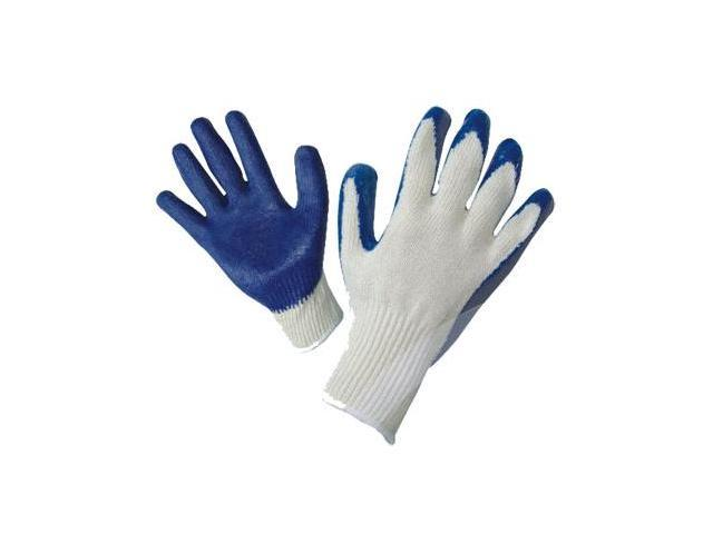 G & F String Knit Palm Latex Dipped Gloves, 10 Pairs Pack, Blue, Large.