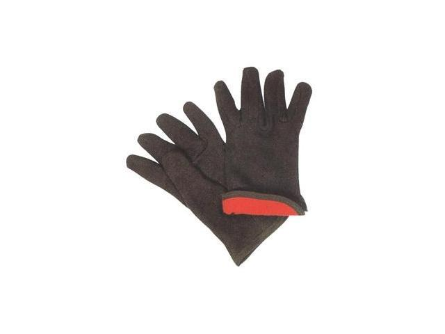 G & F Brown Jersey gloves with Red Fleece Lined, Winter Gloves Large, Sold By Dozen.