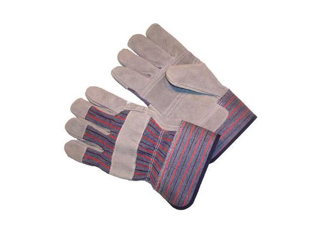 G & F Premium Cowhide Leather Palm Gloves, Heavy Duty Fabric, Large 6 Pair Pack.