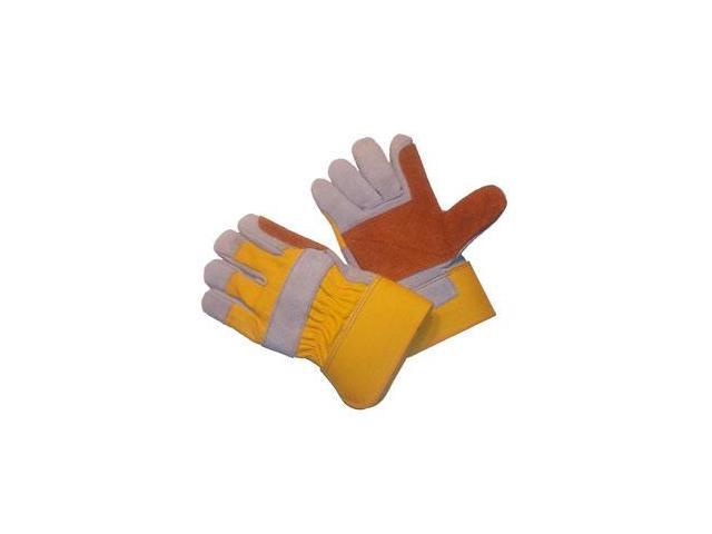 G & F Premium Cowhide Leather Double Palm and Index Finger Gloves, Large 3 Pair Pack.