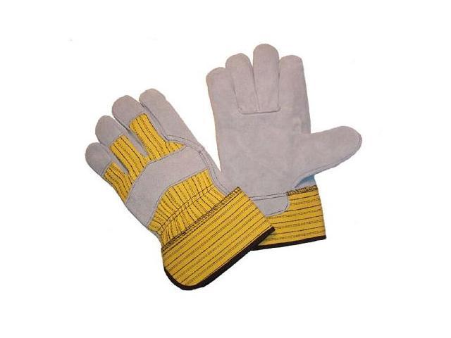 G & F Cowhide Gloves with Rubberized Safety Cuff and Heavy Duty Fabric, Large 3 Pair Pack.