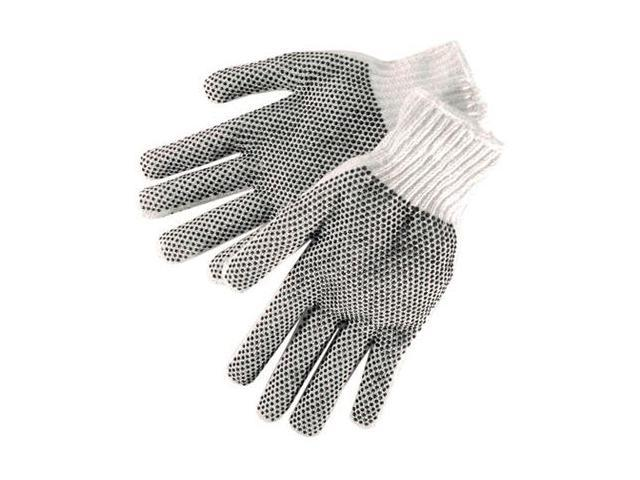 G & F String Knitted Gloves, with Blue PVC Block on Both Side Large Sold By Dozen.