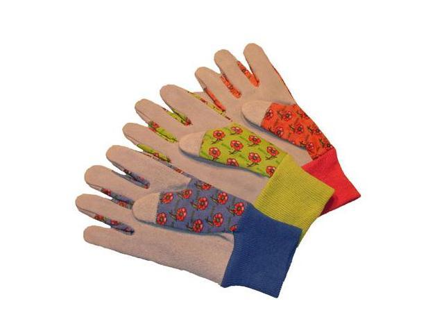 G & F Women's Gardener Gloves with Assorted Canvas Flower Leather Palm, 3 Pair Pack.