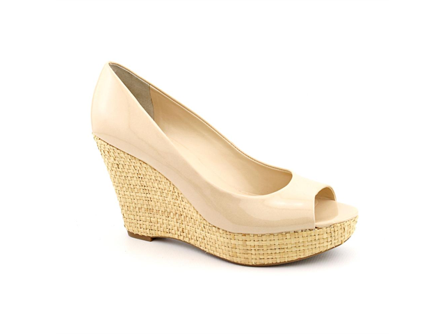 Franco Sarto Surf Womens Size 8.5 Nude Peep Toe Wedges Heels Shoes