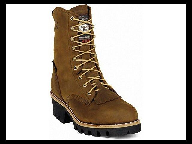 "GEORGIA G9382 8"" ST WP Ins Logger Brown Shoes SZ 10 Wide"
