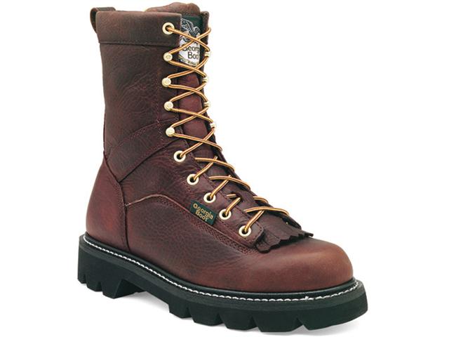 "GEORGIA G8044 8"" Low Heel Brown Boots Work Shoes Mens 7"