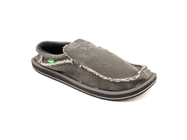Sanuk Chiba Mens Size 12 Black Textile Loafers Shoes