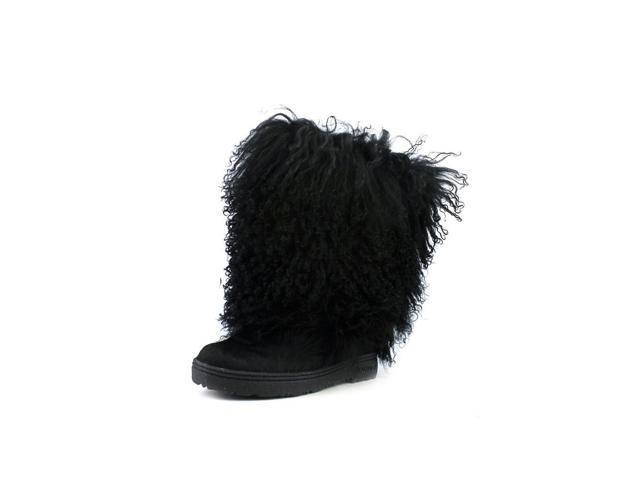 Bearpaw Boetis II Womens Size 7 Black Boots Winter Artificial Fur Snow Boots
