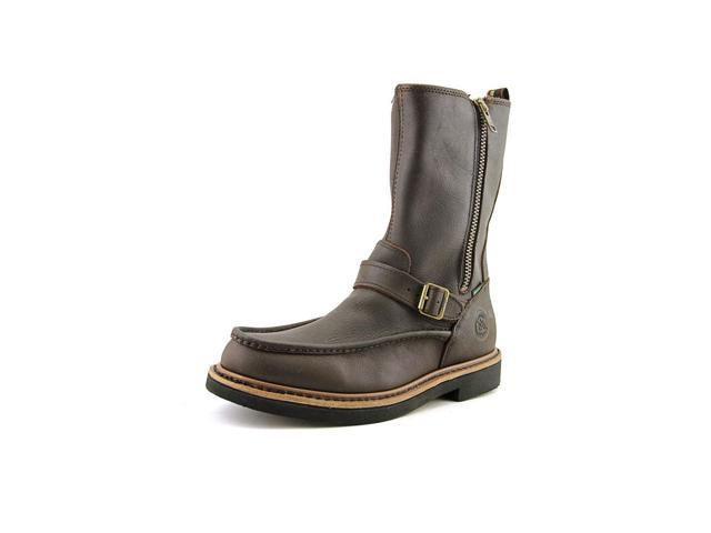 Georgia Boot Side Zip Moc-Toe Wellington Men US 12 W Brown Boot