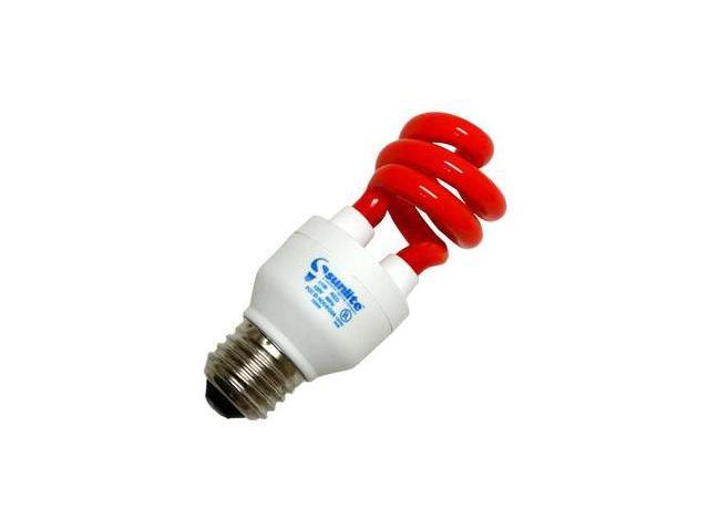 Sunlite 05433 - SM11/R 11W RED MINI SWIRL Twist Medium Screw Base Compact Fluorescent Light Bulb