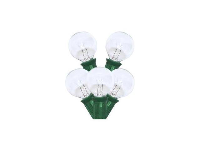 Sival 30251 - 25 Light G30 Candelabra Screw Base Green Wire Clear Christmas Light String Set