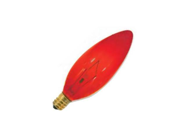 Satco 03219 - 25B9-1/2/R 120V RED CAND. BASE S3219 Colored Decorative Light Bulb