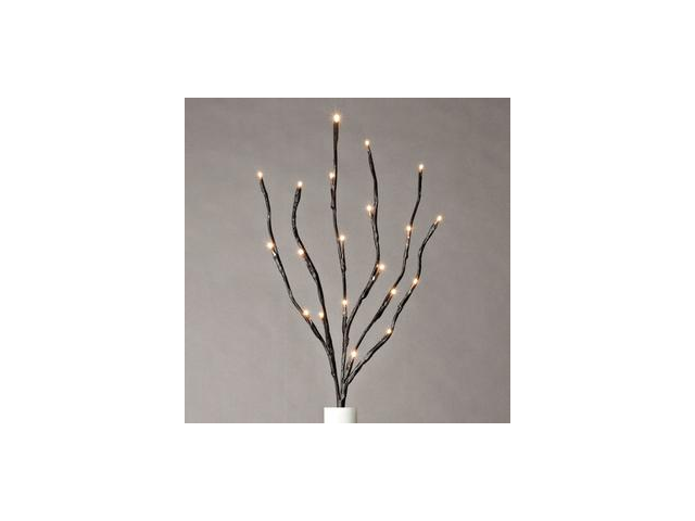 """Gerson 36865 - 20"""" Brown Wrapped Battery Operated LED Lighted Branch (20 Warm White Lights)"""