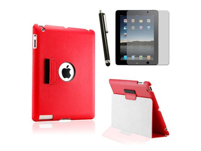 Slim Fit Dual Layer Black Leather Smart Function Leather Case for iPad 3/iPad2 w/ Screen Protector and Stylus Pen - OEM