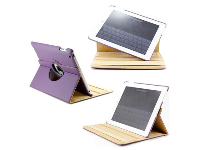 iPad 2 360° Rotating Magnetic Leather Case Smart Cover With Swivel Stand Purple - OEM