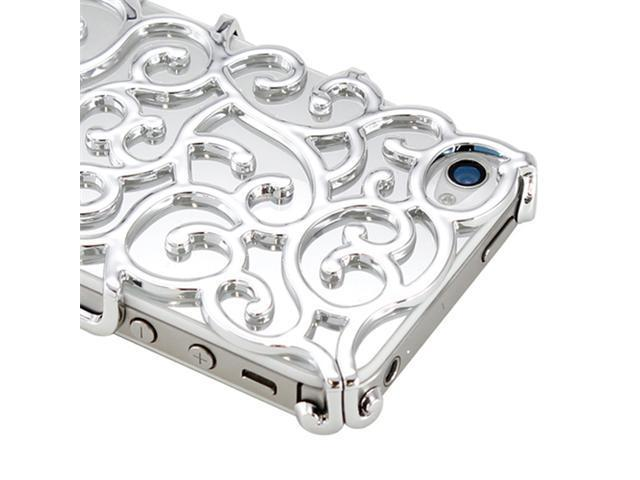 Luxury Silver Chrome Electroplating Hollow Pattern PC Hard Back Case Cover for iPhone 4G 4S