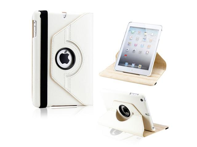 White 360 Degree Rotating PU Leather Case Cover with Swivel Stand for iPad Mini and iPad Mini with Retina Display - OEM