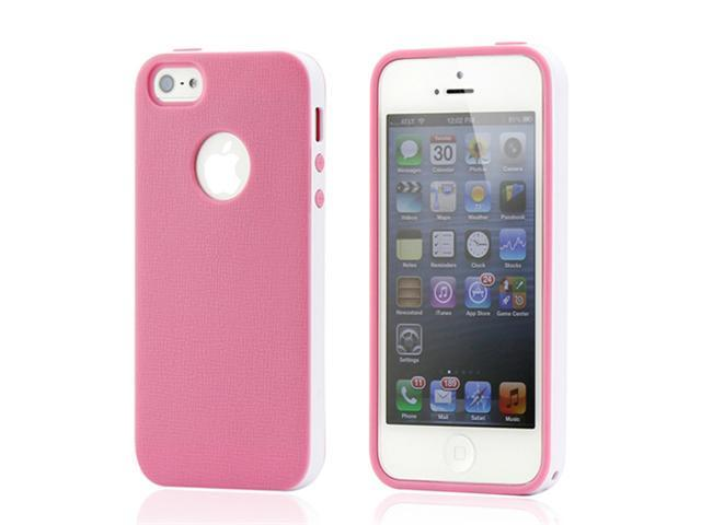 Pink & White Slim HyBrid PC Rugged TPU Back Case Cover Frame Cover for iPhone 5 5S