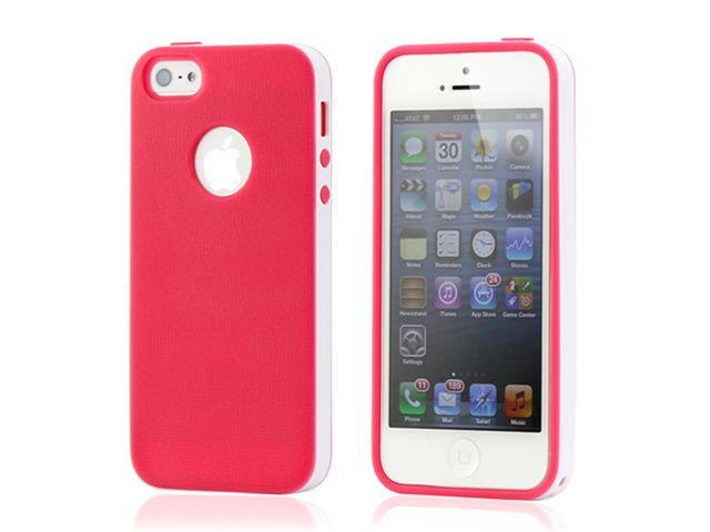 Hot Pink & White Slim HyBrid PC Rugged TPU Back Case Cover Frame Cover for iPhone 5 5S