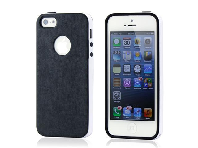 Black & White Slim HyBrid PC Rugged TPU Back Case Cover Frame Cover for iPhone 5 5S