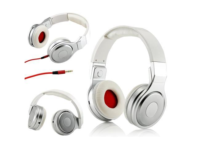 Metalic Design Adjustable Circumaural Over-Ear Earphone Stero Headphone 3.5mm for iPod MP3 MP4 PC iPhone Music - White and Silver