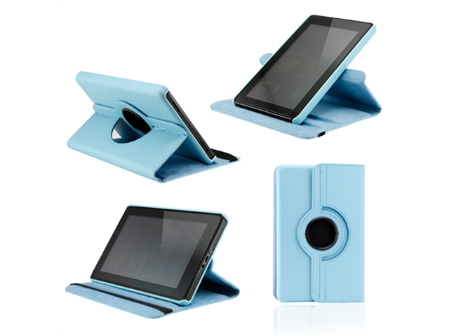 Sky Blue 360 Degree Rotating Leather Case Cover with Swivel Stand for Amazon 2011 Kindle Fire