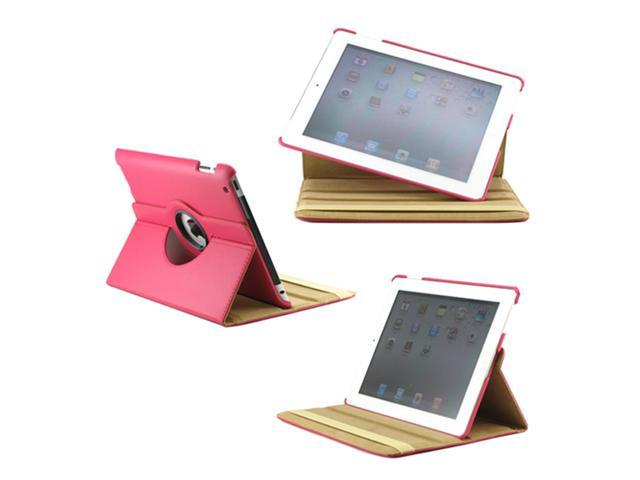 360 Degree Rotating Duel Layer Hot Pink Leather case with smart Cover function for The New iPad 3 3rd iPad 2 Gen - OEM