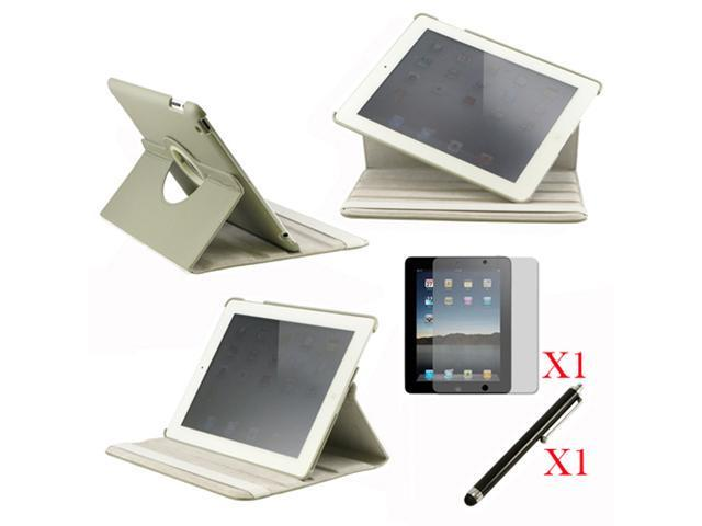 360 Degree Rotating Gray Leather case with smart Cover function for iPad 2, The New iPad 3 and iPad 4 with retina desplay ... - OEM