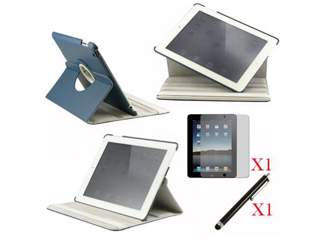 360 Degree Rotating Dark Blue Leather case with smart Cover function for iPad 2, The New iPad 3 and iPad 4 with retina desplay ... - OEM